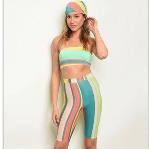 Striped tube top + biker shorts + head wrap set.